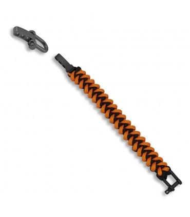 Bracciale paracord nero e arancio