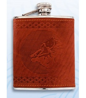 Flask decorata con un lupo